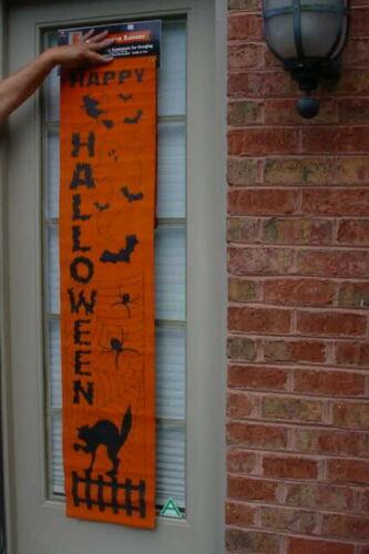 Vintage Halloween Door Decoration Vinyl FLOCKED BLACK CAT WITCH GHOST SPIDER BAT