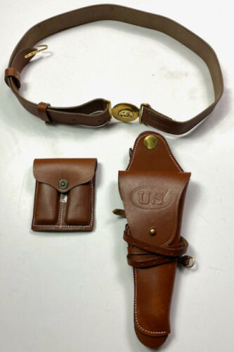 WWI & WWII M1912 LEATHER OFFICER NCO .45 PISTOL BELT HOLSTER & AMMO POUCH