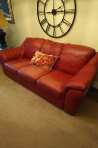 Natuzzi Red Leather Couch & Love Seat