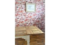 Kitchen Dining Table Turned Leg 7-10 FT Rustic Extendable Seats 14-16 Painted Finish Farmhouse