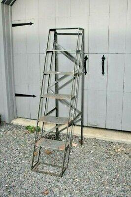 Vtg Industrial Folding Library Steel Ladder Mercantile Display Shelf French 2