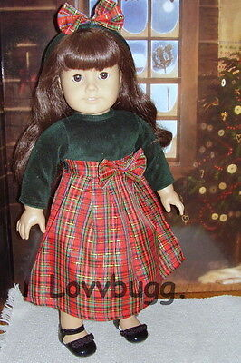 """6401a22f7 Holiday Green Velvet & Red Plaid Dress for 18"""" American Girl Dolls"""