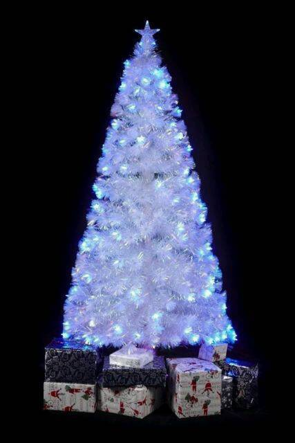 WHITE RAINBOW LED FIBRE OPTIC CHRISTMAS TREE MULTI COLOURED - WHITE RAINBOW LED FIBRE OPTIC CHRISTMAS TREE MULTI COLOURED In