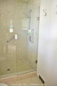 Glass Shower Door plus fixed glass panel