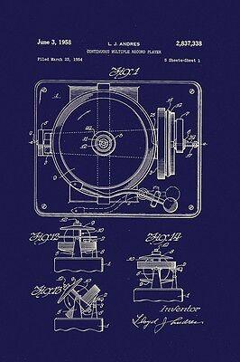 RECORD PLAYER - PATENT DIAGRAM - FINE ART PRINT POSTER 13x19 - BF1689