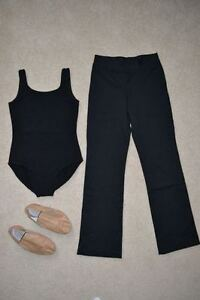 Girl's Size 12 Black DANCE Bodysuit & Jazz Pants LIKE NEW!