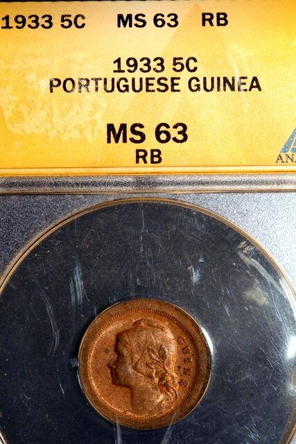 1933 ANACS MS63  Portugese Guinea KM-01 Five Centavos