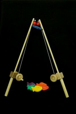 KIDS WOODEN FISHING POLE [My Unique Wooden Toys] christmas gift,birthday , - Toy Fishing Pole