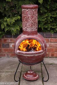 Mexican Clay Chimenea Esprial Chiminea Patio Heater Fire Pit Bbq Garden Chimenea Ebay