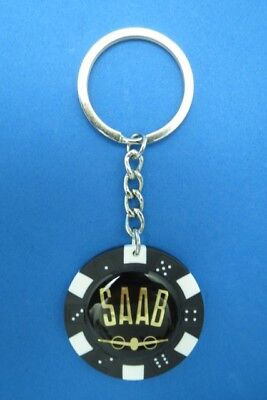 SAAB LOGO POKER CHIP DICE KEYRING KEY RING CHAIN #130 for sale  USA