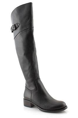 Stivali donna alti fino al ginocchio in vera pelle neri made in Italy c150