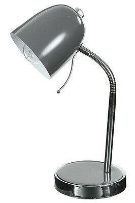 Lámpara Desde Oficina de Metal Gris Pie Y Base Flexible Cromado Mesa...