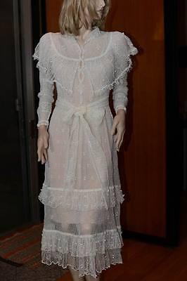Lim's Vintage 100% Rami Hand Crochet Mid-Calf Dress White M