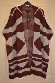 BNWT Atmosphere cardigan poncho One Size gray- burgundy