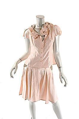 (ANAESSIA Satin Blouse & Skirt Set w/ Gorgeous Floral & Beaded Appliques SM $1800)