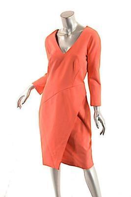 J. MENDEL Paris Coral Viscose Blend Stretch Knit Faux Wrap Dress US12 NWT
