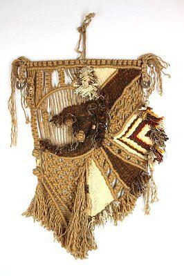 Vtg Macrame Fiber Art Weaving Textile Wall Hanging Tapestry Moroccan Boho
