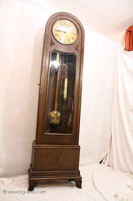 Zauberhafte antike Jungendstil Standuhr Uhr Holzkasten Glastür Gong Pedeluhr ()