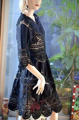 LIM'S CLASSIC 100% COTTON HAND CROCHET & EMBROIDERY DRESS BLACK ONE SIZE