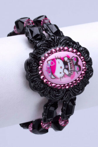 RARE Tarina Tarantino Hello Kitty Queen Pink Head Stretch Lucite Bracelet