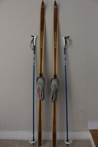 180 cm Splitkein Wood skis cross country women's size US 7 w/ 3