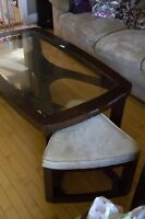 Coffee table with 2 side table inserts