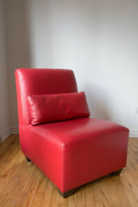 2 Custom Made Red Leather Chairs from Attica