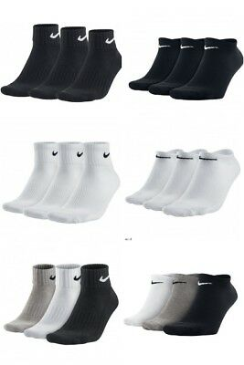 Nike 3 Pairs Mens Womens Ankle Quarter & No Show Sports  Socks  Black White