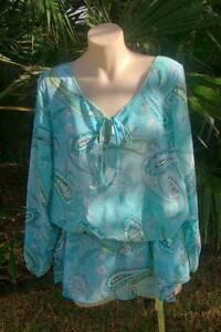 "AMANDARA""Carrie"" sequin poly/chiffon top- turquoise- Small/Medium Fullarton Unley Area Preview"