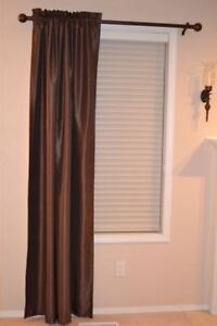 2 Brown Room-Darkening Curtain Panels (+ 3 Curtain Rod Sets)