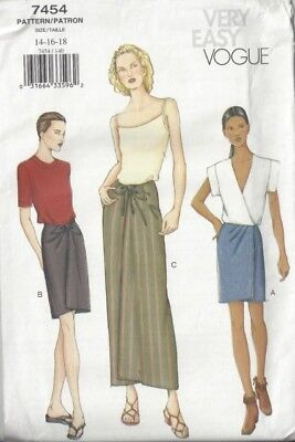 "14-16-18(WAIST 28-32"")WRAP LONG SKIRT MINI-MAXI VARIATIONS VINTAGE VOGUE PATTERN"