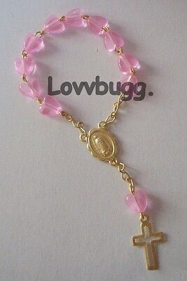 "Lovvbugg Mini Rosary Pink Heart for 18"" American Girl Doll Accessory"