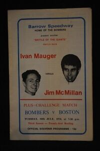 SPEEDWAY Barrow - IVAN MAUGER v JIM McMILLAN - 30 Jul 1974