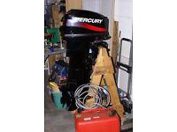 Brand new Mercuary outboard motor 25 Hp longshaft 2stroke Manual pull start, Manual Tiller