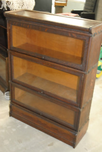 Antique Three-Tiered Barrister Bookcase (Walnut Wood)