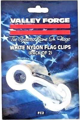 - FC2 Valley Forge Set/2 White Nylon Flag Snap Clips Prevents Clanging on Pole NEW