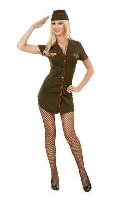 Army Babe Costume (BUTTON FRONT ARMY BABE ADULT HALLOWEEN COSTUME WOMENS SIZE LARGE)