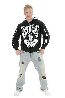 Men's Skeleton Hoodie Gothic Punk Emo Skull Sweatshirt Adult Halloween Costume - Skeleton Costumes For Men
