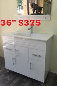 "MODERN BATHROOM VANITY 36"" $375.     SHOWER DOOR SALE"