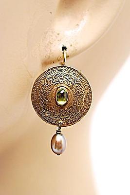 NAN IRWIN Antique Gold Vermeil Disc Earrings w/Topaz+Pearl - PRETTY - 7/8