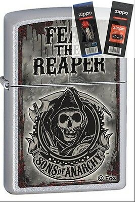 Zippo 28502 Sons Of Anarchy Fear Lighter With  Flint   Wick Gift Set