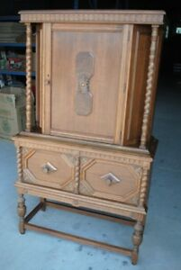 Vintage China/Bar Tudor Style Cabinet - Solid WALNUT Wood!