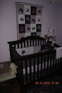EUC -Real Wood Crib (convertible) and Dresser