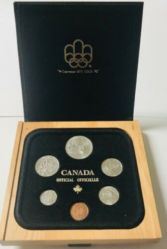 CANADA - Olympics Official (6) Coin Year Set - 1981 - Wood Display Case