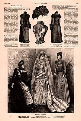 1890 's ENGRAVING WOMAN FASHION  DRESS WEDDING