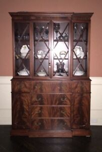 Flame Mahogany Chippendale Breakfront China Cabinet