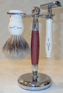 Edwin-Jagger double-edge shaving set with brush, razor and stand