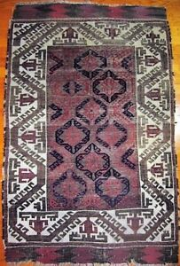 Antique 19th c. Baluch Balouch Tribal Oriental Rug with Ivory Border 2'10