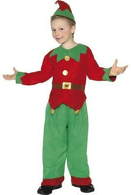 CHILDRENS KIDS ELF OUTFIT BOYS GIRLS FANCY DRESS COSTUME SANTAS HELPER OUTFIT