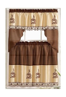 Coffee Barista Complete Embroidered Kitchen Curtain Tier & Swag Set